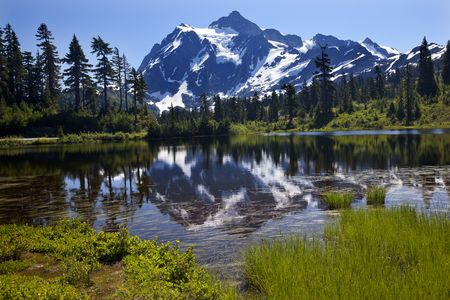 Reflection Lake Mount Shuksan Mount Baker Highway Snow Mountain Grass Trees Washington State Pacific Northwest Stock Photo
