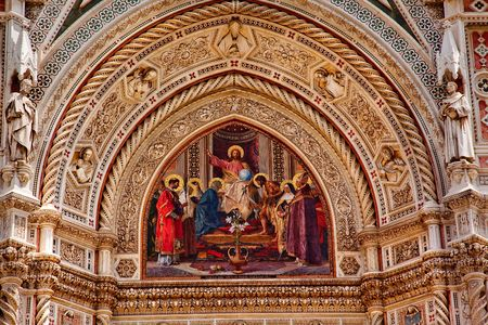 reviewer: Jesus Mosaic Facade Statues, Duomo Basilica Cathedral Church Florence ItalyResubmit--In response to comments from reviewer have further processed image to reduce noise, sharpen focus and adjust lighting. Stock Photo
