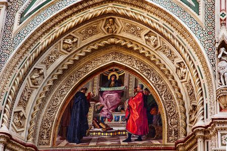 reviewer: Mary Mosaic Facade Statues, Duomo Basilica Cathedral Church Florence ItalyResubmit--In response to comments from reviewer have further processed image to reduce noise, sharpen focus and adjust lighting. Stock Photo