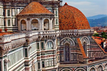 Duomo Basilica Cathedral Church from Giotto's Bell Tower Florence Italy Countryside in BackgroundResubmit--In response to comments from reviewer have further processed image to reduce noise, sharpen focus and adjust lighting.