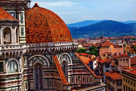 reviewer: Duomo Basilica Cathedral Church from Giottos Bell Tower Florence Italy Countryside in BackgroundResubmit--In response to comments from reviewer have further processed image to reduce noise, sharpen focus and adjust lighting.