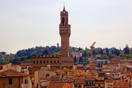 terra cotta: Piazza della Signoria Palazzo Vecchio Arnolfo Tower Terra Cotta Rooftops from Giottos Bell Tower Florence Italy Countryside in Background Built in 1293 Home of the Medici, Seat of GovernmentResubmit--In response to comments from reviewer have further pro