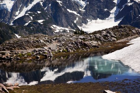 Small Reflection Lake Mount Shuksan Artist Point Mount Baker Highway Snow Mountain Stock Photo - 8060480