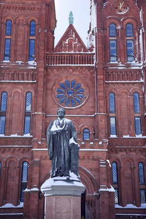 Smithson Statue After the Snow Smithsonian Castle Mall Washington DC