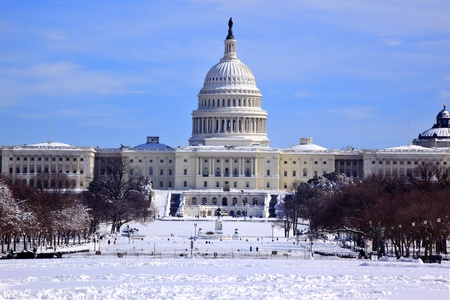 US Capitol After Snowstorm in Snow Congress House Senate capital city Washington DC  photo