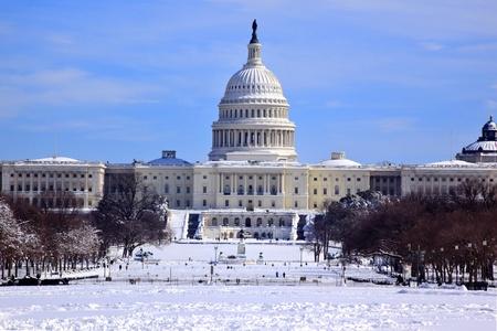 US Capitol po tej w Snow Kongres House Senatu stolicy Washington DC