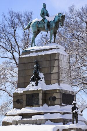 General William Tecumseh Sherman, famous civil war hero, Statue Pennsylvania Avenue After the Snowstorm With Snowy Trees Washington DC photo