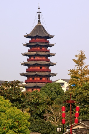 Ancient Chinese Ruigang Pagoda Dates Back to Song Dynasty Red Lanterns Suzhou China photo