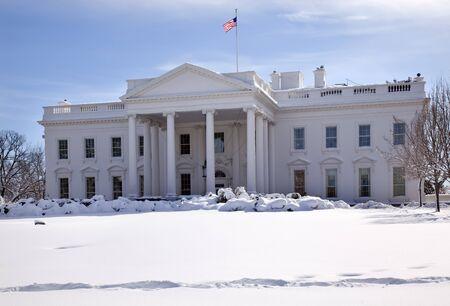 ave: White House Close Up Flag After Snow Pennsylvania Ave Washington DC Stock Photo