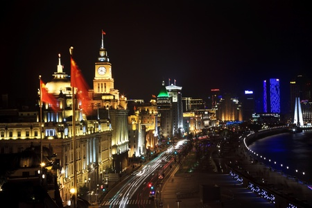 The Bund, Old Part of Shanghai, At Night with Cars  photo