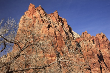 Red Rock Cliff Court of Patriarchs Zion Canyon National Park Utah Southwest  Stock Photo - 8760890