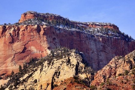 The West Temple Red Rock Canyon Snow Evergreens Towers of Virgin Zion Canyon National Park Utah Southwest Stock Photo - 8760887