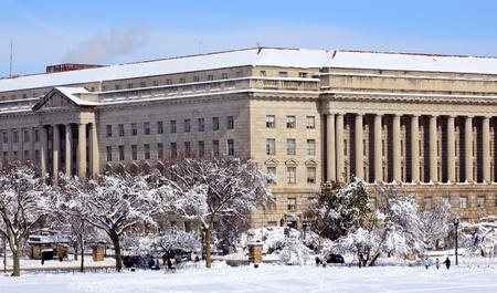 Commerce Department After the Snow Constitution Avenue Washington DC Stock Photo - 8888730