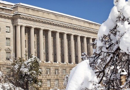 Commerce Department After the Snow Constitution Avenue Washington DC Stock Photo - 8888729