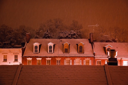 nightime: Nightime Snow Georgetown Apartments Buildings Rooftops in Snowstorm at Night Washington DC