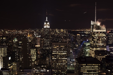 moon  metropolis: New York City Skyline East River Empire State Building Night Moon Airplanes