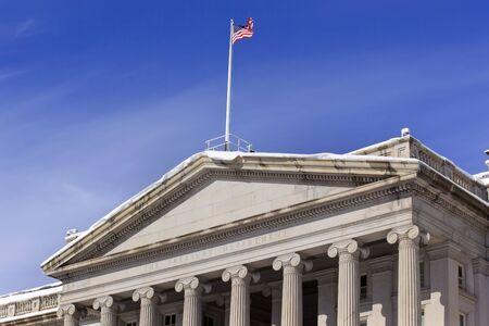 Treasury Department US Flag Columns After the Snow Pennsylvania Avenue Washington DC photo