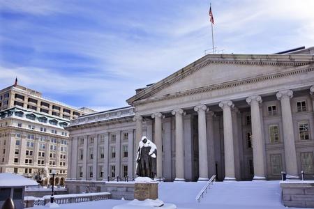 us government: US Treasury Albert Gallatin Statue After Snowstorm Winter Washington DC