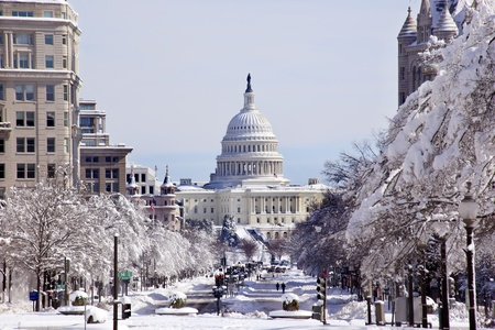 US Capital Pennsylvania Avenue After the Snow Washington DC Traffic Lights Stock Photo