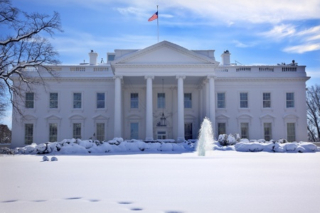 White House Fountain Flag After Snow Pennsylvania Ave Washington DC Stock Photo
