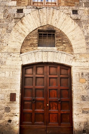 Ancient Brown Door Medieval Town Stone Doorway San Gimignano Tuscany Italy