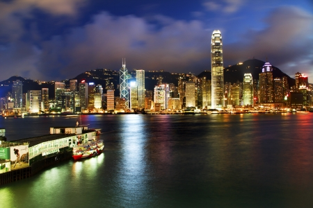 Hong Kong Harbor at Night from Kowloon Star Ferry Reflection