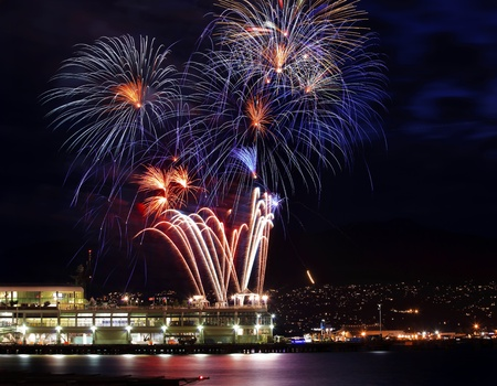 Red Blue White Fireworks Vancouver Harbor Canada Day British Columbia Pacific Northwest Editoriali