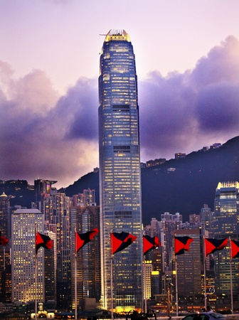 Two International Finance Centre Hong Kong Harbor Sunset Red Flags from Kowloon