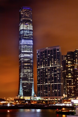 icc: Inernational Commerce Center ICC Buildking Kowloon Hong Kong Harbor at Night 4th Largest Building in the World