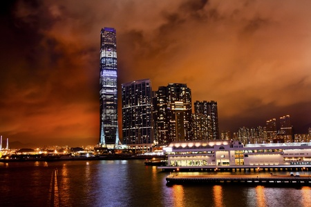 icc: Inernational Commerce Center ICC Building Kowloon Hong Kong Harbor at Night 4th Largest Building in the World