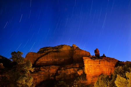 sedona: Boynton Red Rock Canyon Star Trails Sedona Arizona Stock Photo