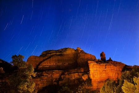 Boynton Red Rock Canyon Star Trails Sedona Arizona Banco de Imagens