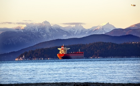 Vancouver Harbor Freighter Lighthouse From Jericho Beach Snow Mountains Sunset British Columbia Pacific Northwest