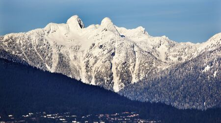 Vancouver Houses Snowy Two Lions Snow Mountains Sunset British Columbia Pacific Northwest photo