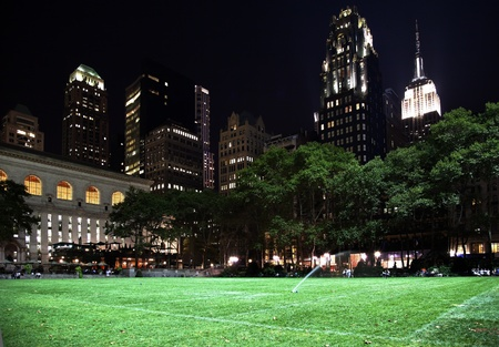 bryant: Bryant Park New York City Green Grass Skyline Apartment Buildings Empire State Building Night
