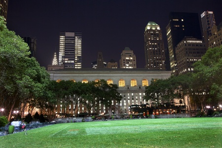 Bryant Park New York City Green Grass Skyline Apartment Buildings Public Library Night Stock Photo - 10185768