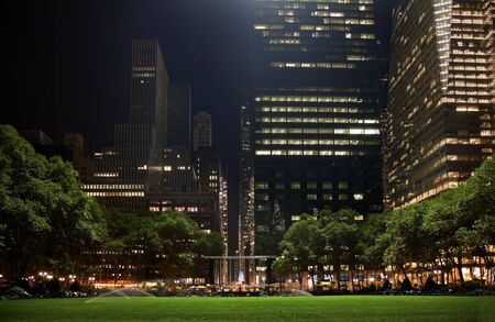 bryant: Bryant Park New York City Green Grass Skyline Apartment Buildings Night