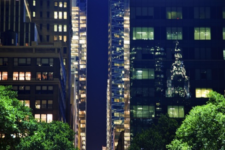 bryant park: Chrysler Building Reflection, Apartment Buildings Bryant Park New York City Night
