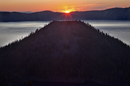 crater lake: Crater Lake Wizard Island Sunrise Oregon Pacific Northwest