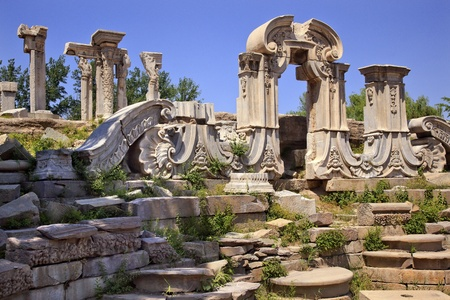 Ancient Gate Ruins Pillars Old Summer Palace Yuanming Yuan Beijing China  Old Summer Palace was destroyed by British and French Army in 1860 Second Opium War Dashuifa built in 1759 by Emperor Qianlong