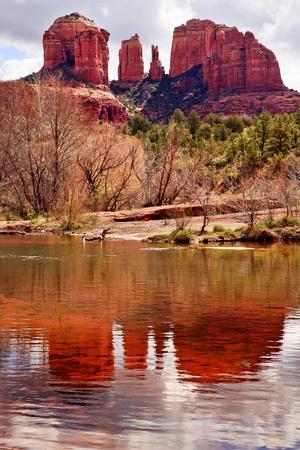Cathedral Red Rock Canyon Oak Creek Green Trees Sedona Arizona