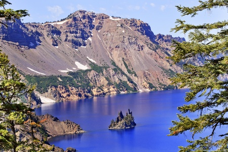 Crater Lake Reflection, Phantom Ship Island, Blue Sky Oregon Pacific Northwest photo