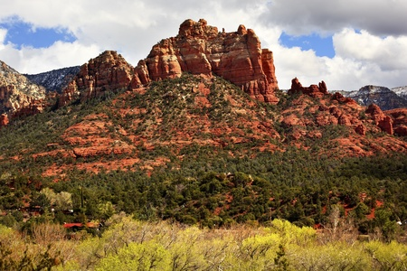 butte: Camel Head Orange Red Rock Butte Canyon Houses Blue Cloudy Sky Green Trees Sedona Arizona