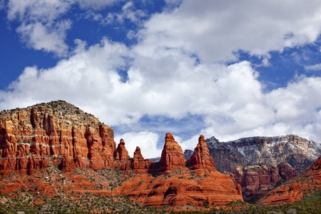 Madonna Nuns Orange Red Rock Canyon Big Blue Cloudy Sky Green Trees Snow Sedona Arizona photo