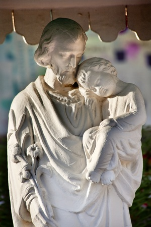 st: St Joseph Baby Jesus Statue St. Joseph Wangfujing Cathedral,Beijing China.  Very famous Catholic Church built in 1655 and in Boxer Rebellion