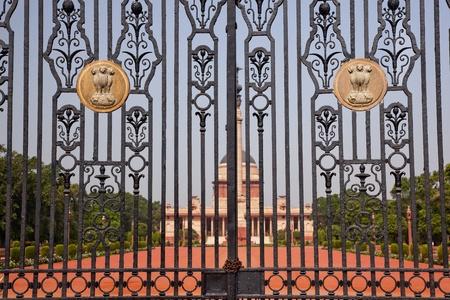 puertas de hierro: Rashtrapati Bhavan puerta del hierro puertas oficiales residencia Presidente Nueva Delhi, India dise�ado por Edwin Lutyens y completado en 1931