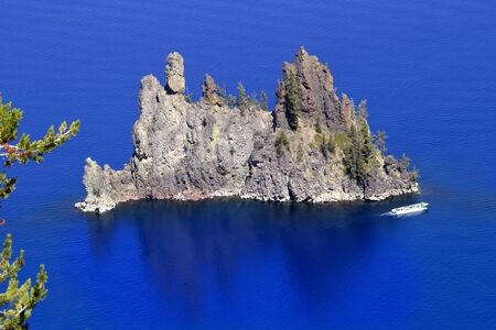 crater lake: Blue Crater Lake Reflection Phantom Ship Island White Tourist Boat Oregon Pacific Northwest