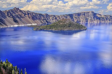 crater lake: Crater Lake Reflection Wizard Island, Clouds Blue Sky Oregon Pacific Northwest