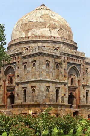 Large Ancient Dome Bara Gumbad Tomb Lodi Gardens New Delhi India Stock Photo