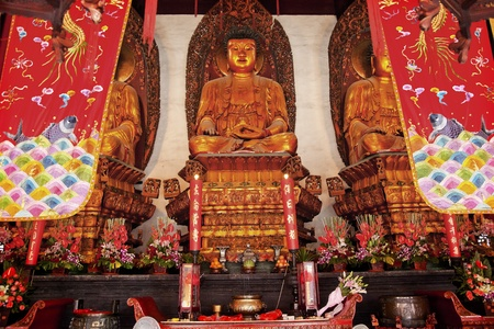 jade buddha temple: Buddhist Statues Jade Buddha Temple Jufo Si Shanghai China Most famous buddhist temple in Shanghai